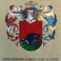 Ennek a címernek a másolatához aranyfüstöt és ezüstöt imitáló fémfóliát is használtunk