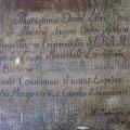 Tisztított vászon hátoldal, részlet a felirattal